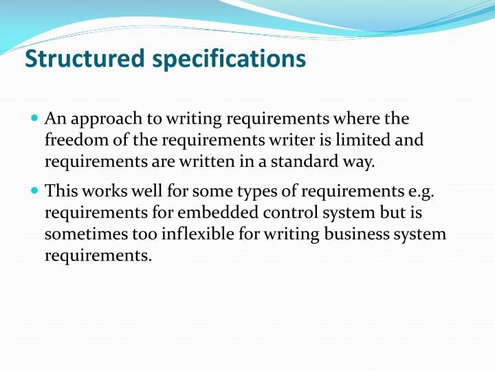 Structured specifications
