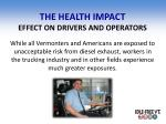 the health impact effect on drivers and operators