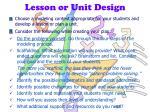 lesson or unit design
