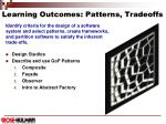 learning outcomes patterns tradeoffs