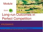 long run outcomes in perfect competition