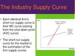 the industry supply curve