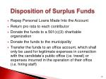 disposition of surplus funds