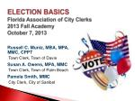 election basics florida association of city clerks 2013 fall academy october 7 2013