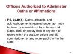 officers authorized to administer oaths or affirmations