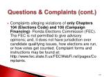 questions complaints cont1