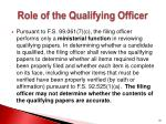 role of the qualifying officer