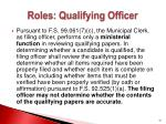roles qualifying officer