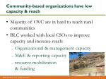 community based organizations have low capacity reach