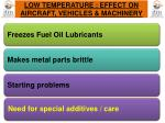 low temperature effect on aircraft vehicles machinery