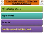 low temperature effect on humans animals