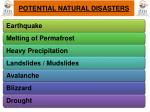 potential natural disasters
