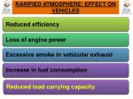 rarified atmosphere effect on vehicles