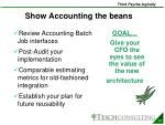 show accounting the beans