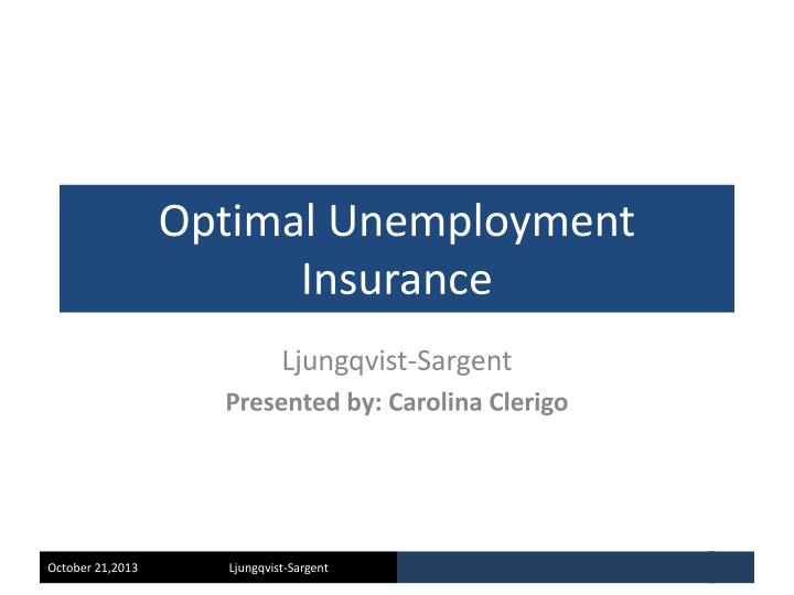 optimal unemployment insurance n.
