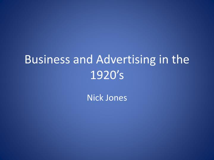business and advertising in the 1920 s n.