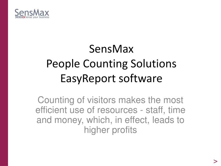sensmax people counting solutions easyreport software n.