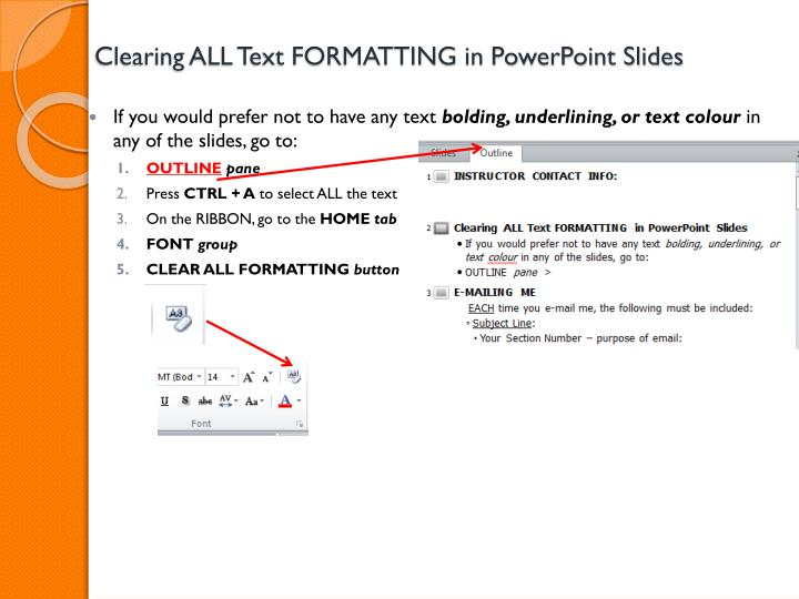 clearing all text formatting in powerpoint slides n.