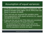 assumption of equal variances