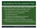 assumptions for the unpaired t test