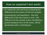 how an unpaired t test works