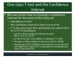 one class t test and the confidence interval