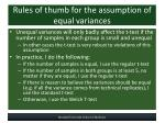 rules of thumb for the assumption of equal variances