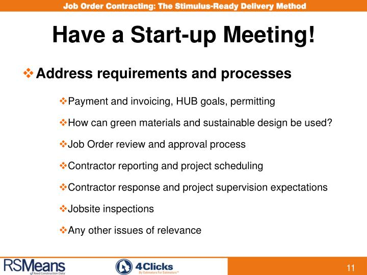 Have a Start-up Meeting!