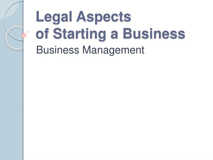 legal aspects of starting a business n.