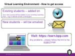 virtual learning environment how to get access