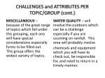 challenges and attributes per topic group cont1