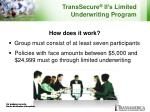 transsecure ii s limited underwriting program