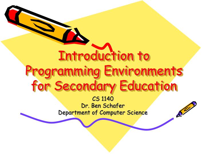 introduction to programming environments for secondary education n.
