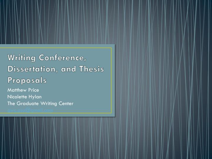 writing conference dissertation and thesis proposals n.