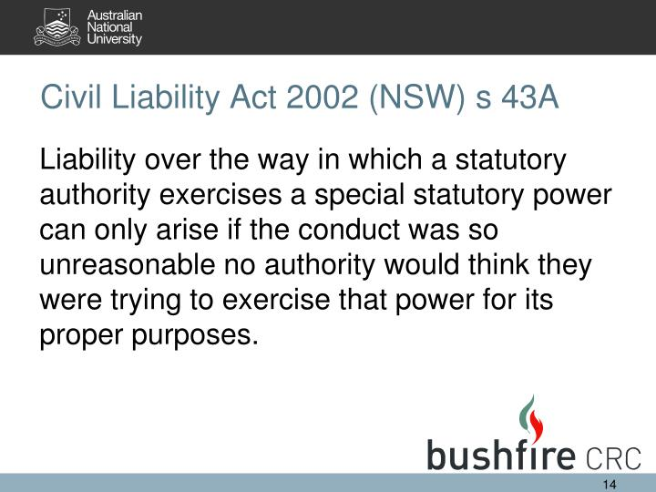 Civil Liability Act 2002 (NSW) s 43A