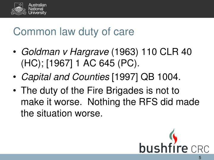 Common law duty of care