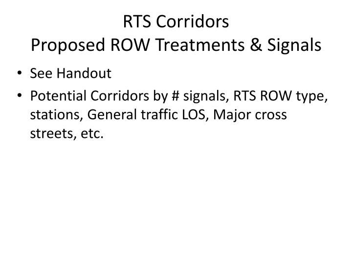 RTS Corridors