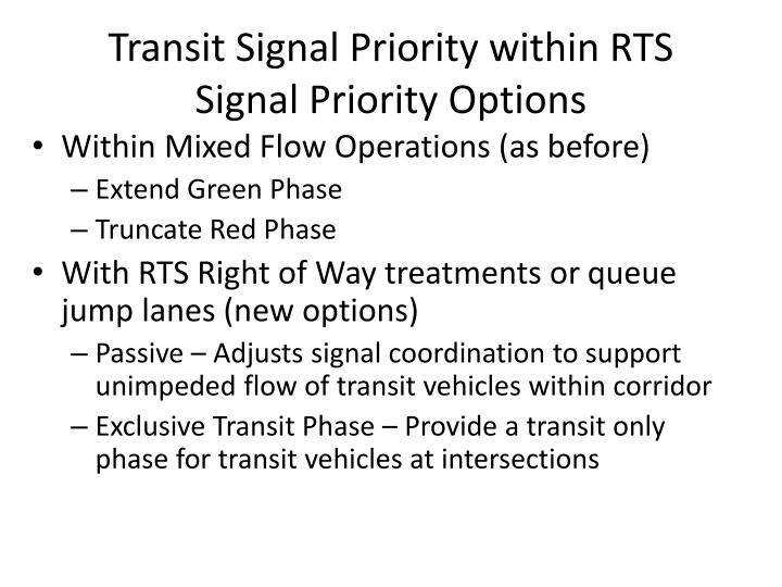 Transit Signal Priority within RTS