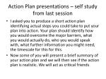 action plan presentations self study from last session