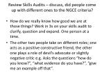 review skills audits discuss did people come up with different ones to the ngce criteria