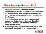 major accomplishments 2012
