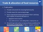 trade allocation of food resources
