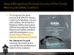 award recognition for great success of the florida motorcycle safety coalition
