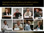 highlights of florida motorcycle safety coalition meeting on august 25 and 26 continued