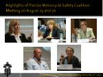 highlights of florida motorcycle safety coalition meeting on august 25 and 26
