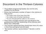 discontent in the thirteen colonies
