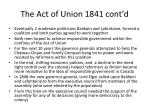 the act of union 1841 cont d
