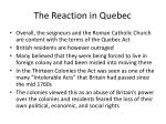 the reaction in quebec