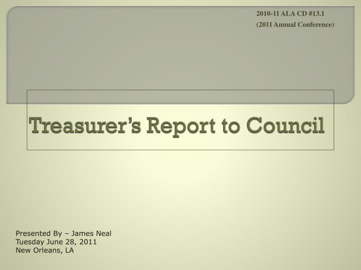treasurer s report to council n.