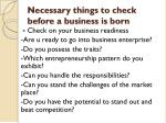 necessary things to check before a business is born